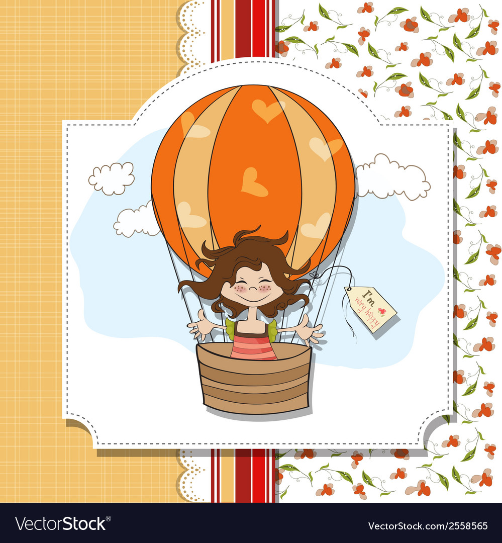 Happy girl flying with a balloon flying vector | Price: 1 Credit (USD $1)
