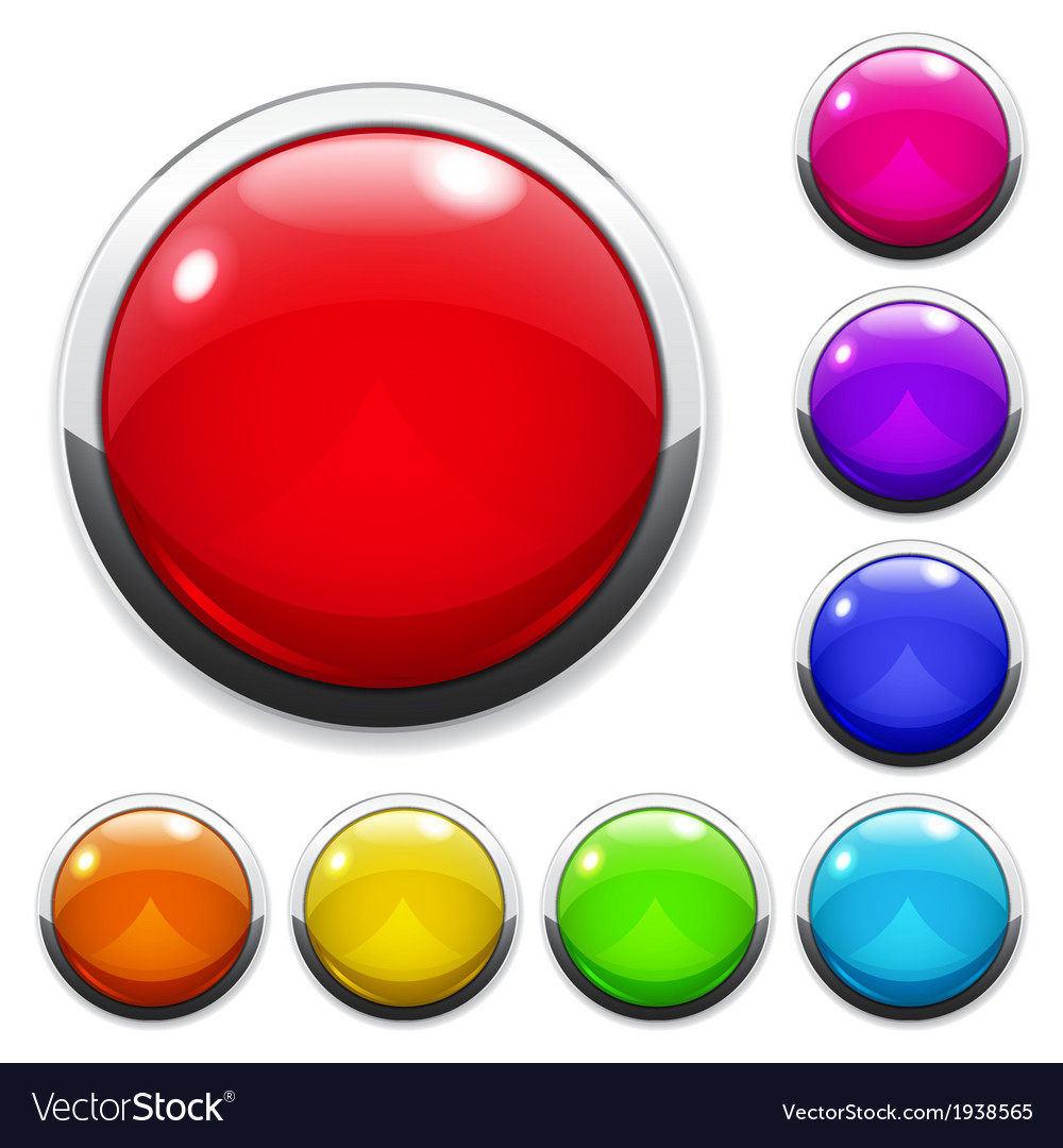 Set of big multicolored glass buttons vector | Price: 1 Credit (USD $1)