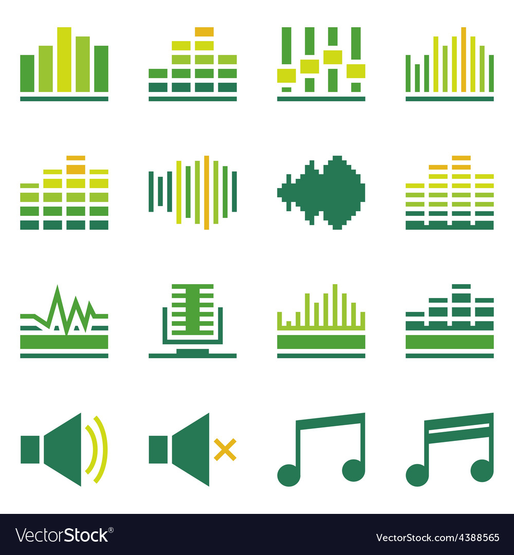 Sound or music soundwave flat green icons vector | Price: 1 Credit (USD $1)