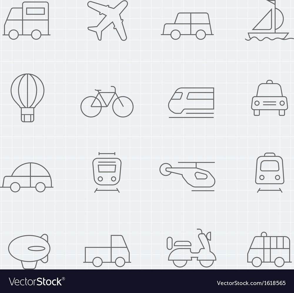 Transport thin line symbol icon vector | Price: 1 Credit (USD $1)