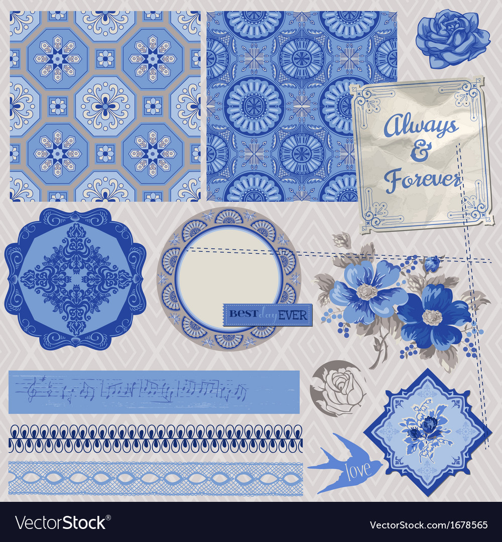 Vintage porcelain and flower set vector | Price: 1 Credit (USD $1)