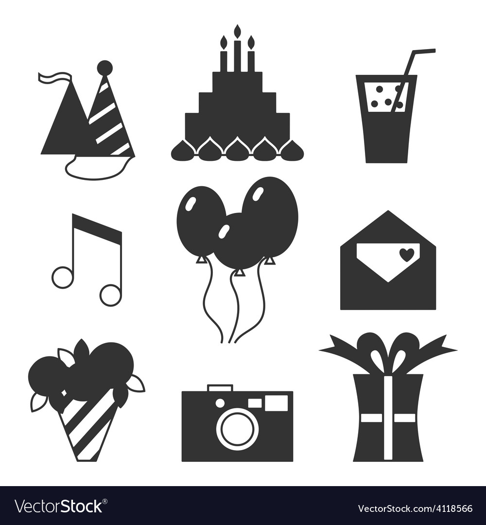 Black silhouette icons happy birthday vector | Price: 1 Credit (USD $1)