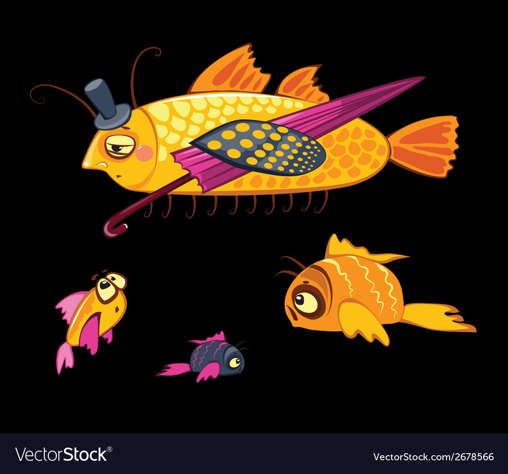 Cartoon characters dandy fish with umbrella vector | Price: 1 Credit (USD $1)