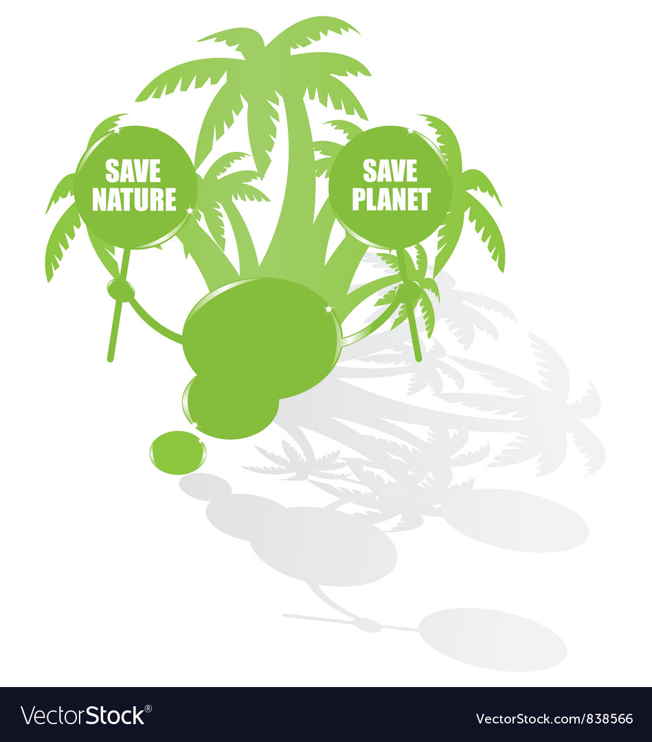 Ecology bubble speech and palms vector | Price: 1 Credit (USD $1)