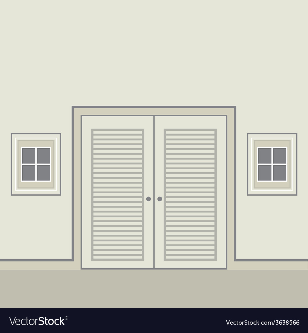 Flat design wooden double doors vector | Price: 1 Credit (USD $1)