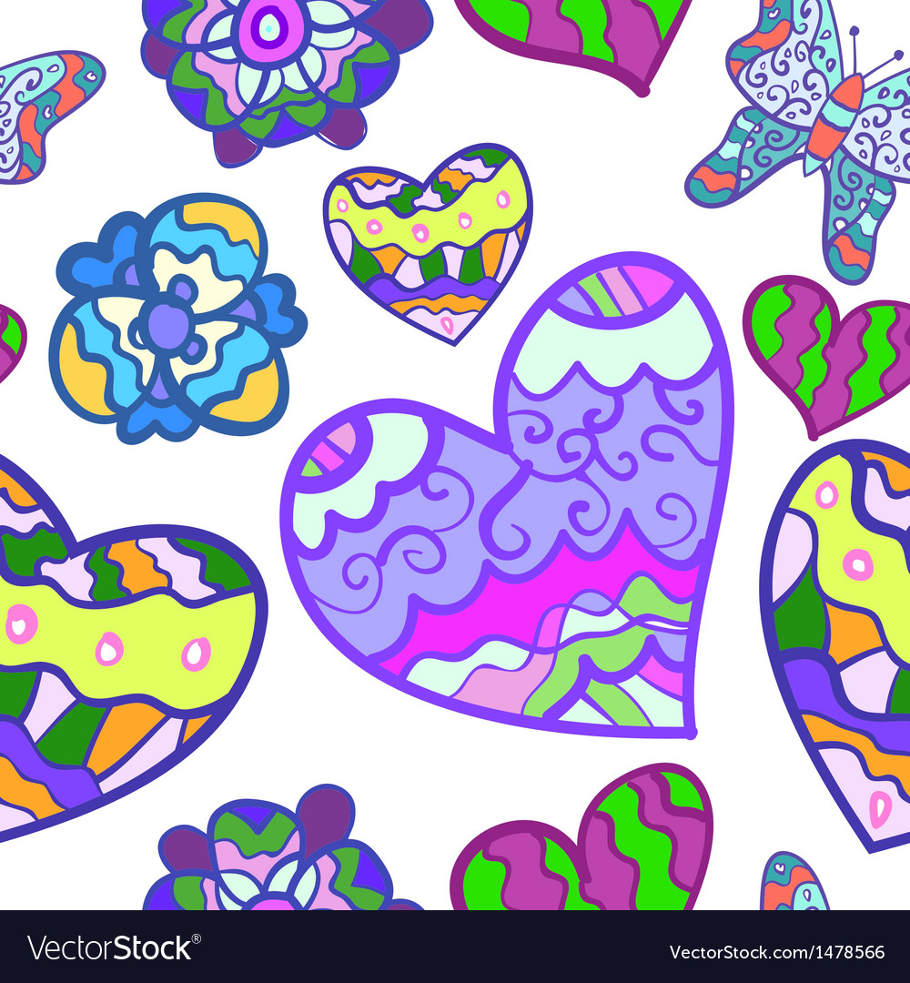 Funny seamless background with heart butterfly and vector | Price: 1 Credit (USD $1)