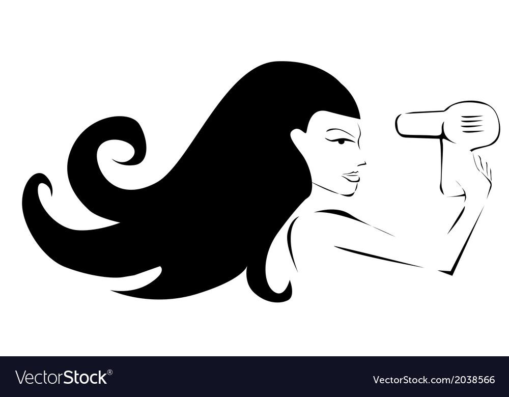 Girl drying hair vector