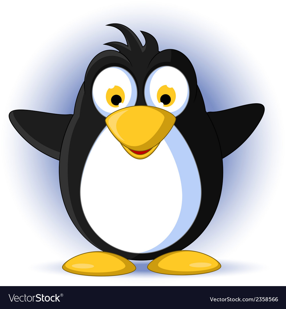 Happy little penguin cartoon vector | Price: 1 Credit (USD $1)
