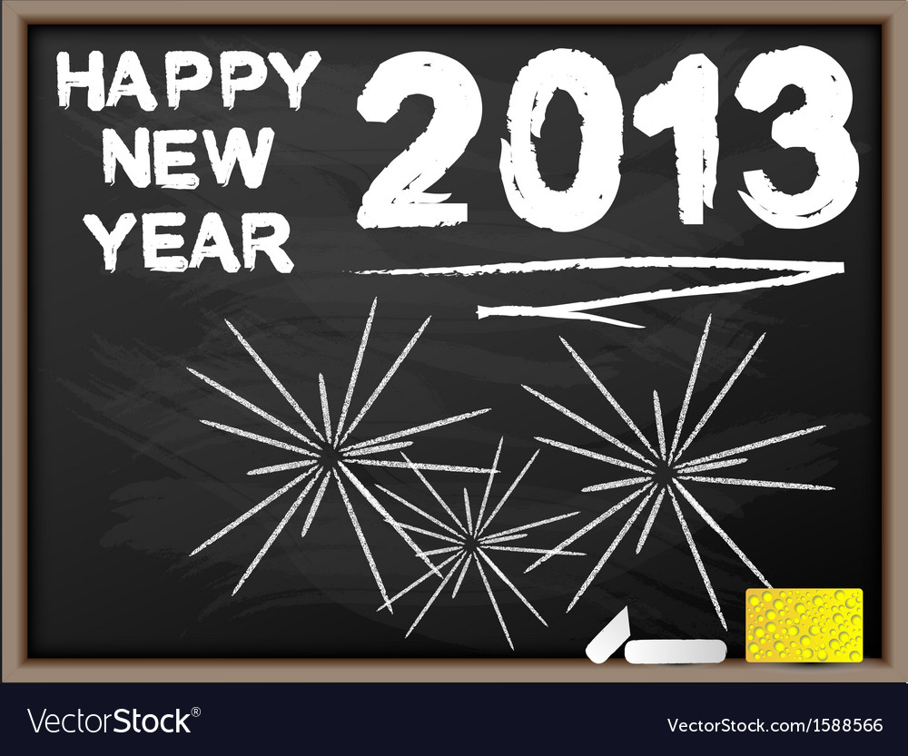Happy new year 2013 blackboard vector | Price: 1 Credit (USD $1)