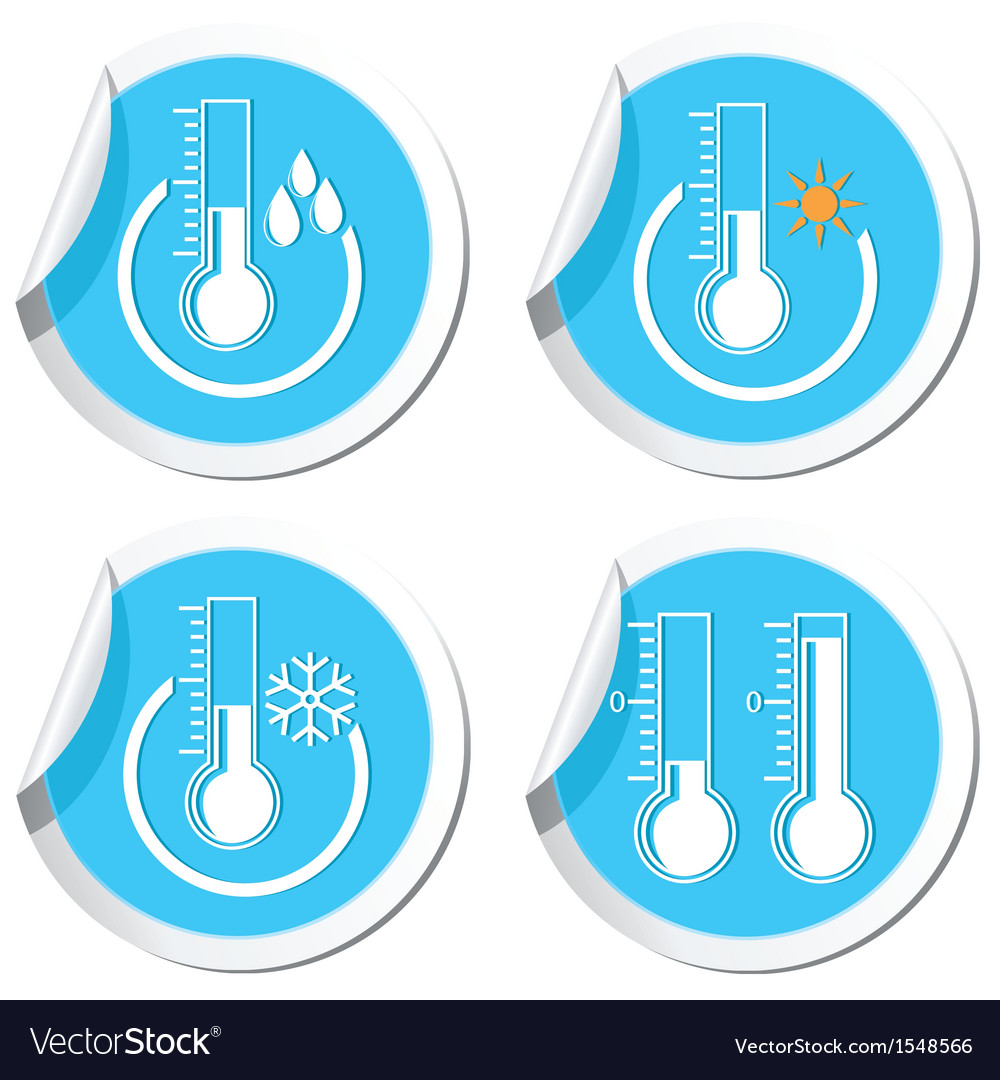Thermometers icon set vector | Price: 1 Credit (USD $1)