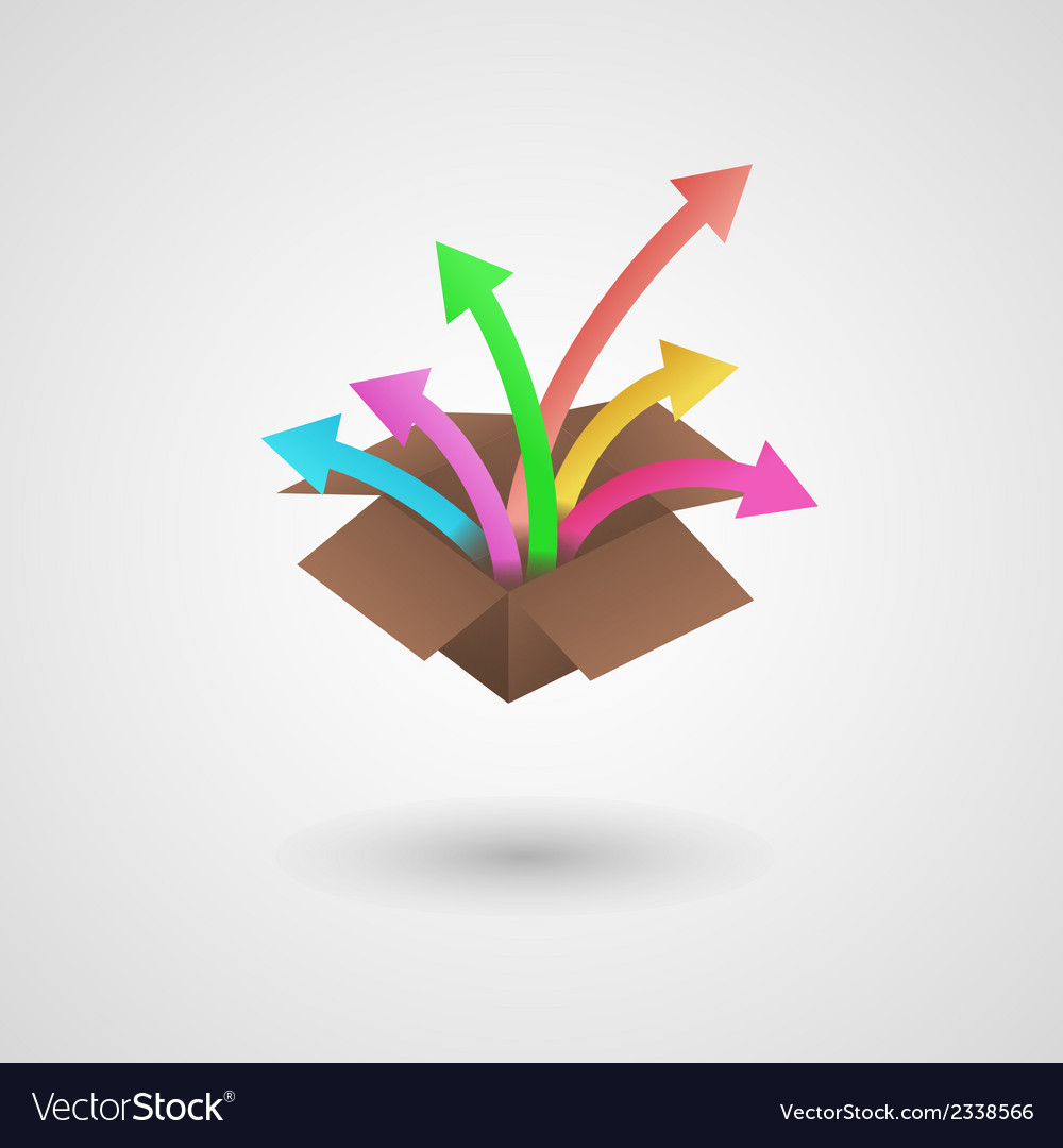 Paper box and arrows vector | Price: 1 Credit (USD $1)