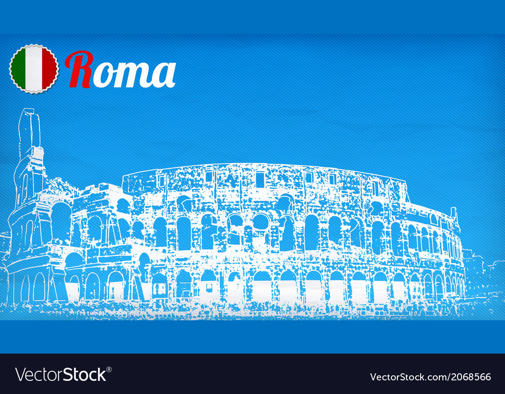 View of the colosseum amphitheater in rome vector | Price: 1 Credit (USD $1)