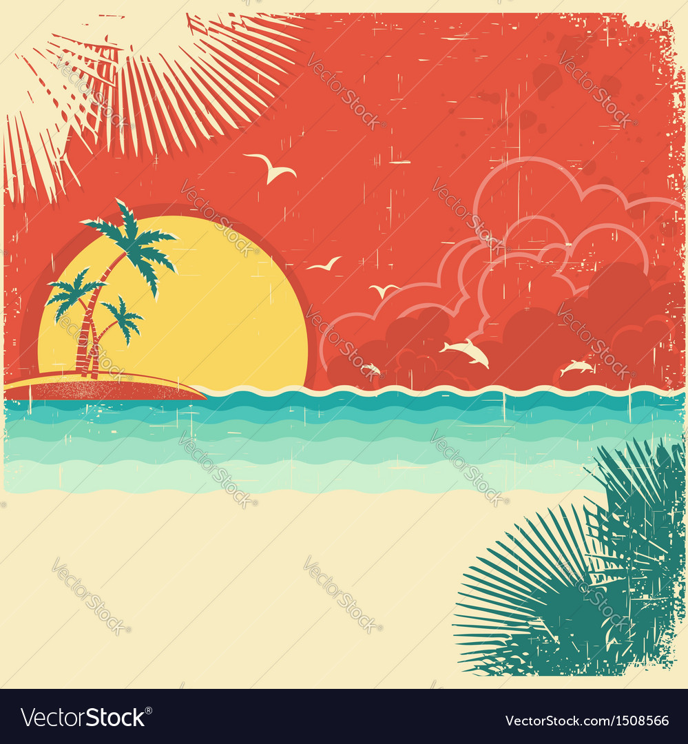 Vintage nature tropical seascape background vector | Price: 1 Credit (USD $1)
