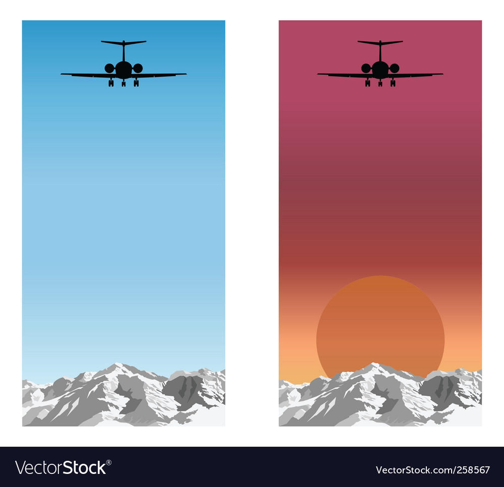 Airplane over mountain vector | Price: 1 Credit (USD $1)