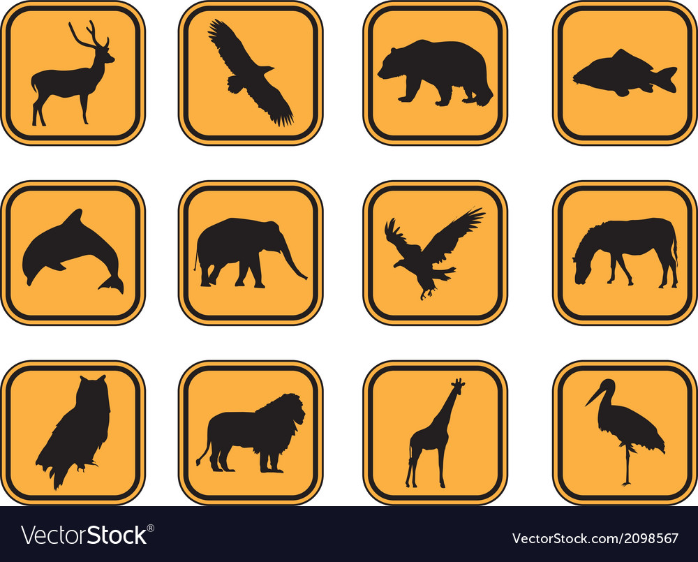 Animal icons set vector | Price: 1 Credit (USD $1)