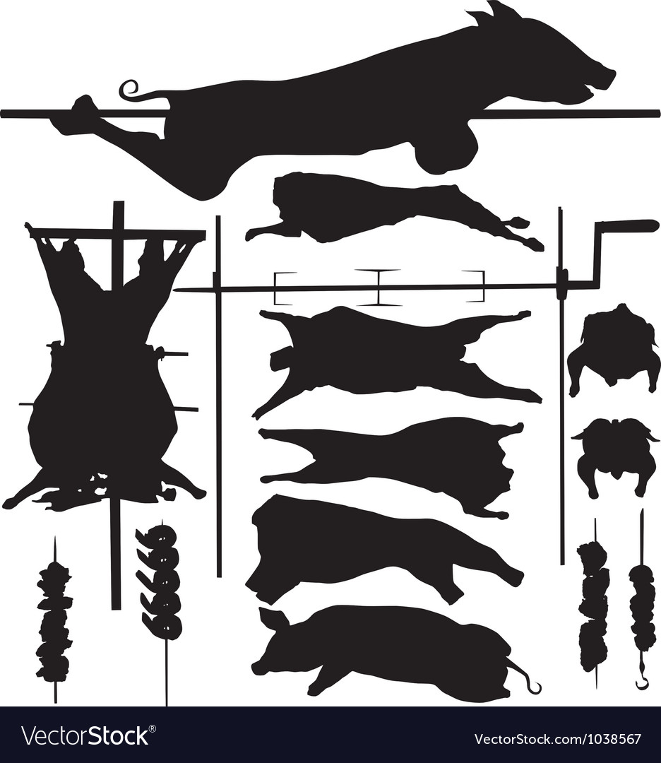 Barbecue bbq related objects silhouettes vector | Price: 1 Credit (USD $1)