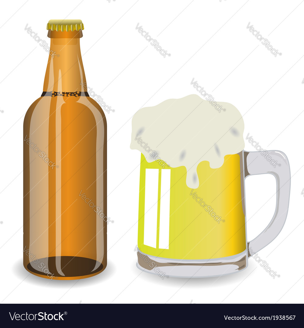 Bottle and mug of beer vector | Price: 1 Credit (USD $1)