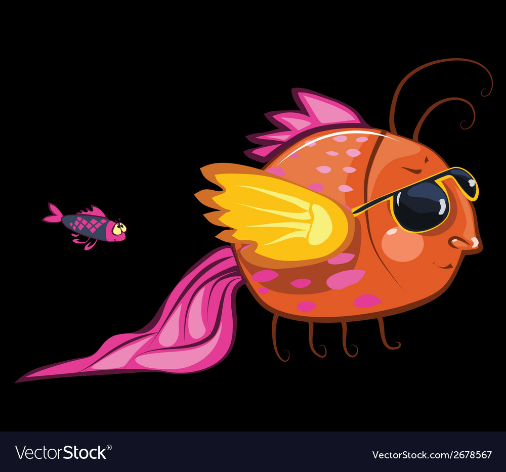 Cartoon characters cool fish wearing sunglasses vector | Price: 1 Credit (USD $1)