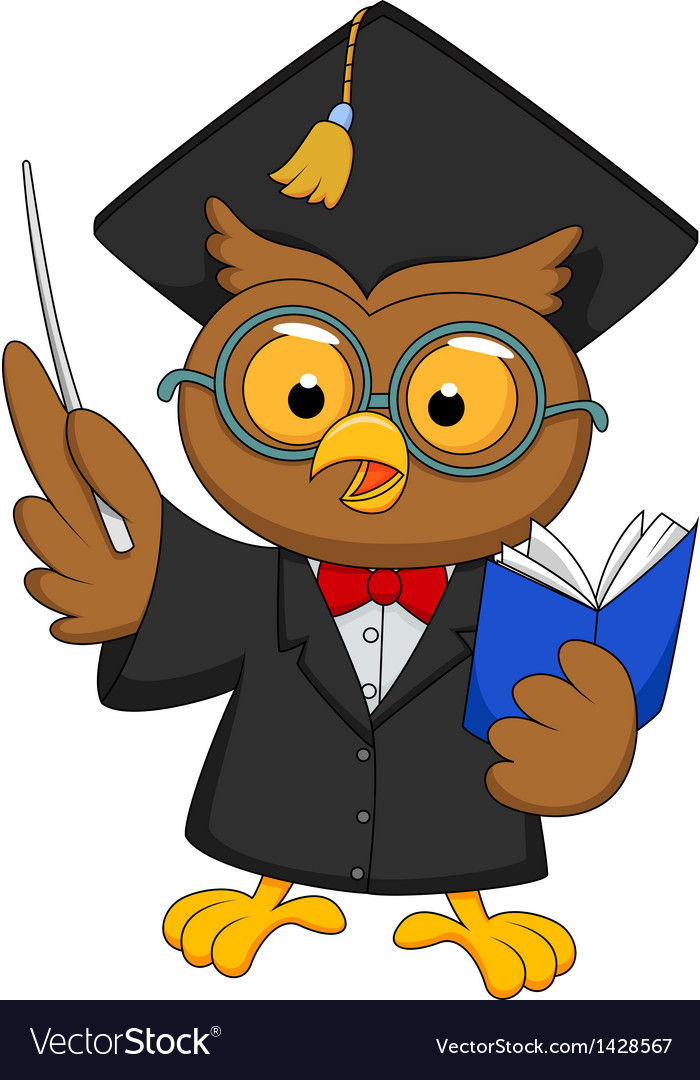 Cartoon owl wearing a graduation uniform giving a vector | Price: 1 Credit (USD $1)
