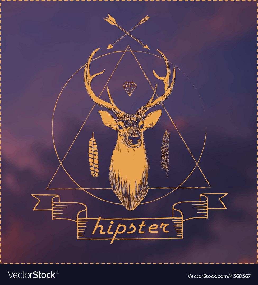 Deer head  hipster art vector | Price: 1 Credit (USD $1)