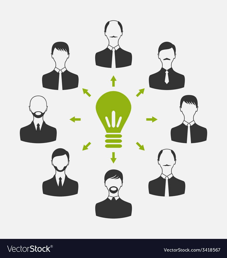 Group of business people gather together process vector | Price: 1 Credit (USD $1)