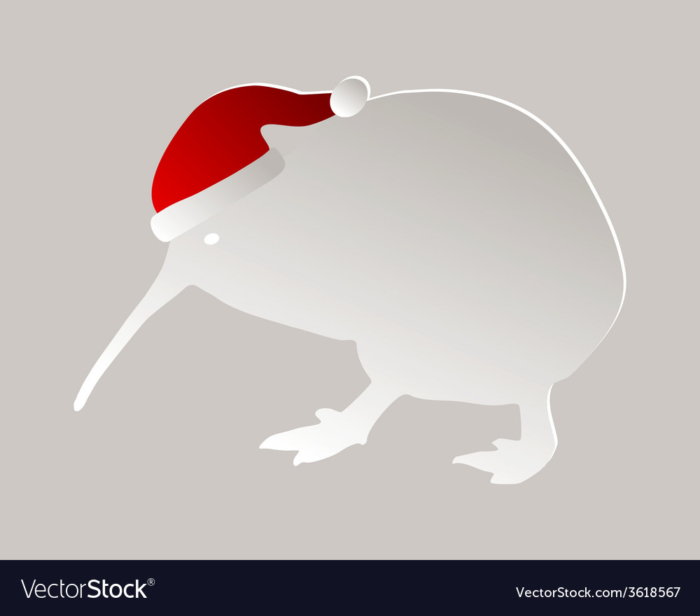 Kiwi with christmas cap vector | Price: 1 Credit (USD $1)
