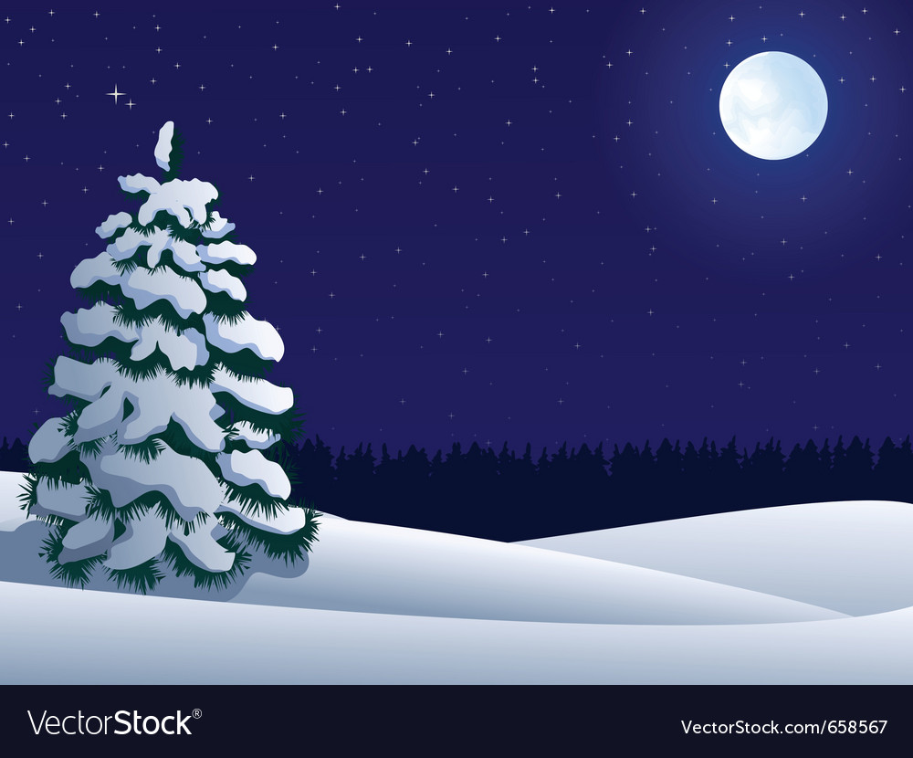 Night winter landscape with lonely tree and moon vector | Price: 1 Credit (USD $1)
