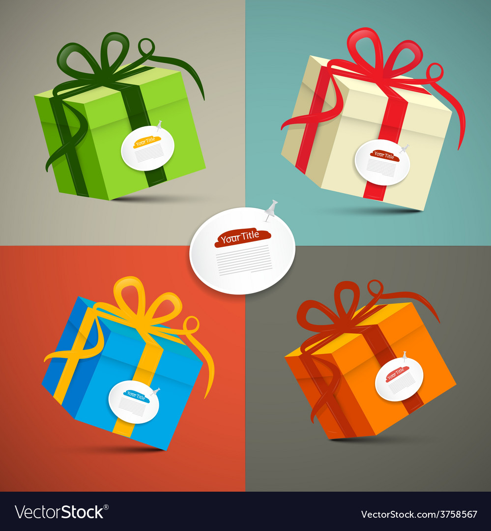 Paper retro 3d gift boxes set vector   Price: 1 Credit (USD $1)