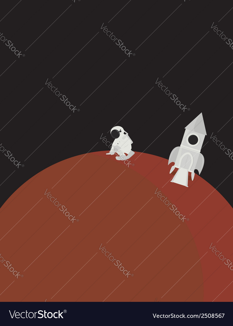Planet and astronaut scene vector | Price: 1 Credit (USD $1)
