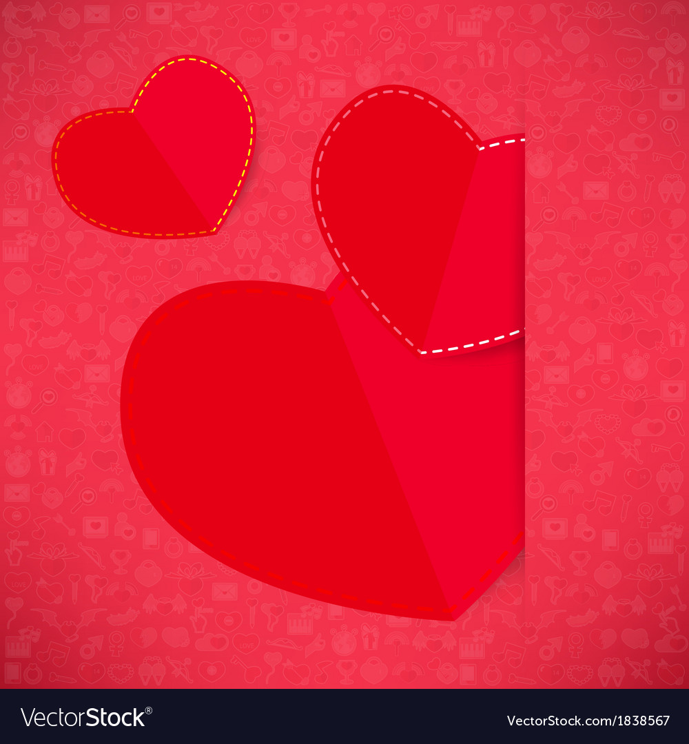 Red paper heart valentines day card with sign on i vector | Price: 1 Credit (USD $1)