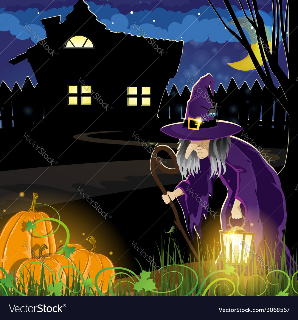 Witch near the house vector | Price: 3 Credit (USD $3)