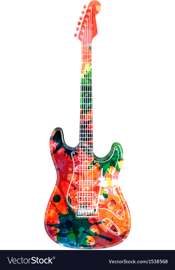 Abstract guitarist color vector | Price: 1 Credit (USD $1)
