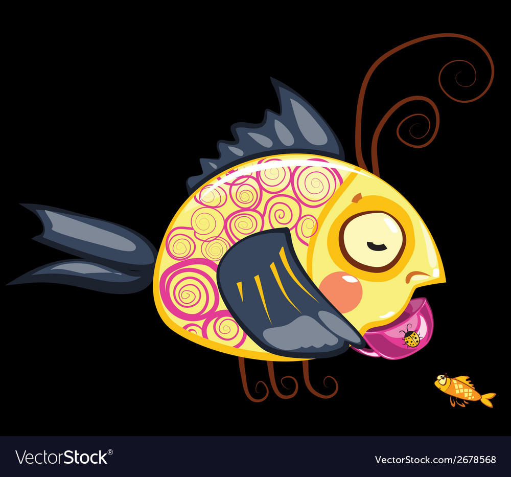 Cartoon characters tea drinking fish vector | Price: 1 Credit (USD $1)