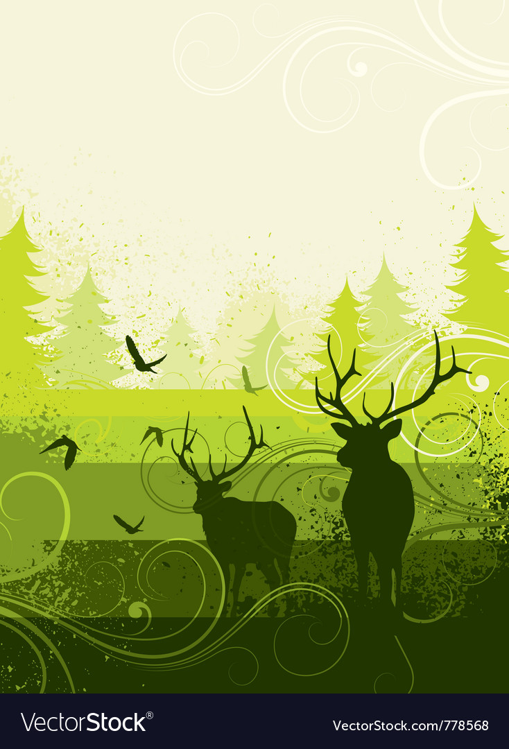 Deer in countryside vector | Price: 1 Credit (USD $1)