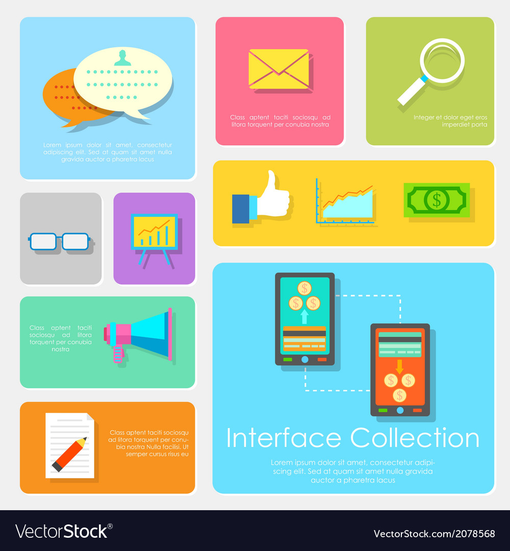 Flat interface design collection vector | Price: 1 Credit (USD $1)