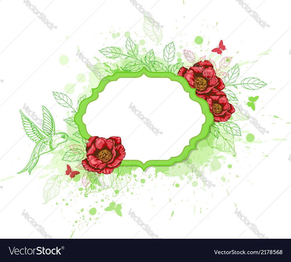 Green banner with red peony vector | Price: 1 Credit (USD $1)