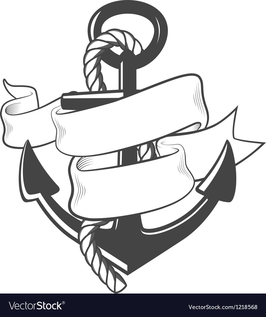 Nautical anchor with rope and ribbon vector | Price: 1 Credit (USD $1)