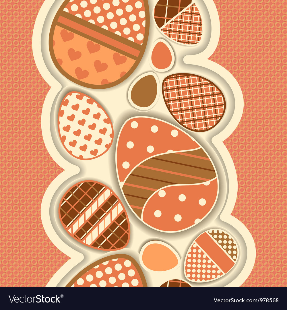 Seamless border for easter with colored eggs vector | Price: 1 Credit (USD $1)
