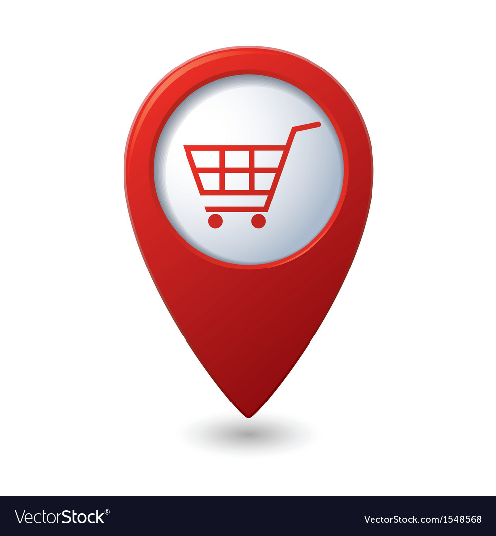Shop basket icon red pointer vector | Price: 1 Credit (USD $1)