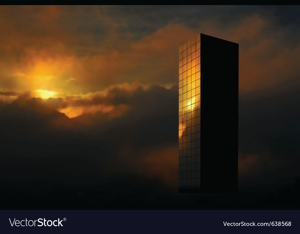 Sunrise skyscraper vector | Price: 3 Credit (USD $3)