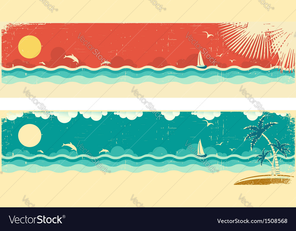 Vintage nature seascape banners vector | Price: 1 Credit (USD $1)