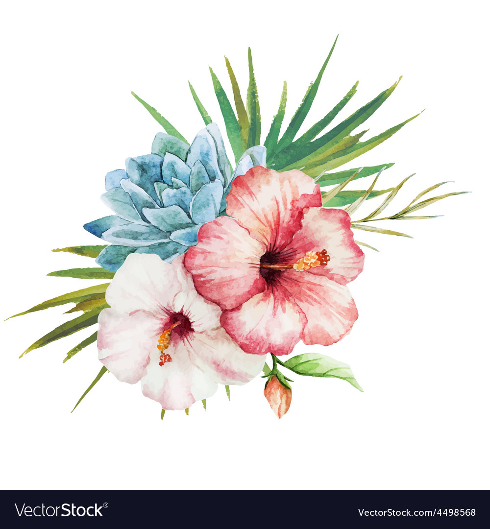 Watercolor tropical flowers vector | Price: 1 Credit (USD $1)