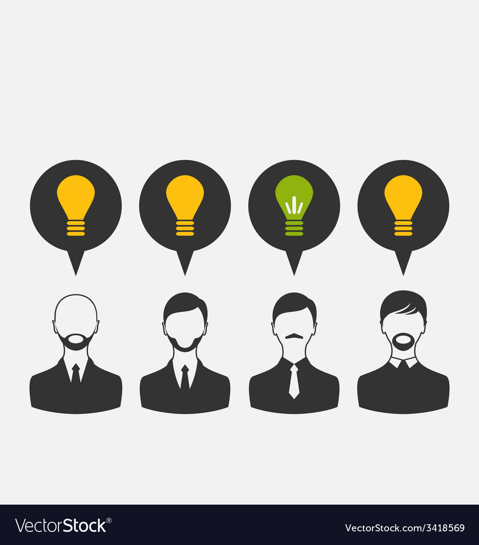 Business people with light bulbs as a concept of vector | Price: 1 Credit (USD $1)
