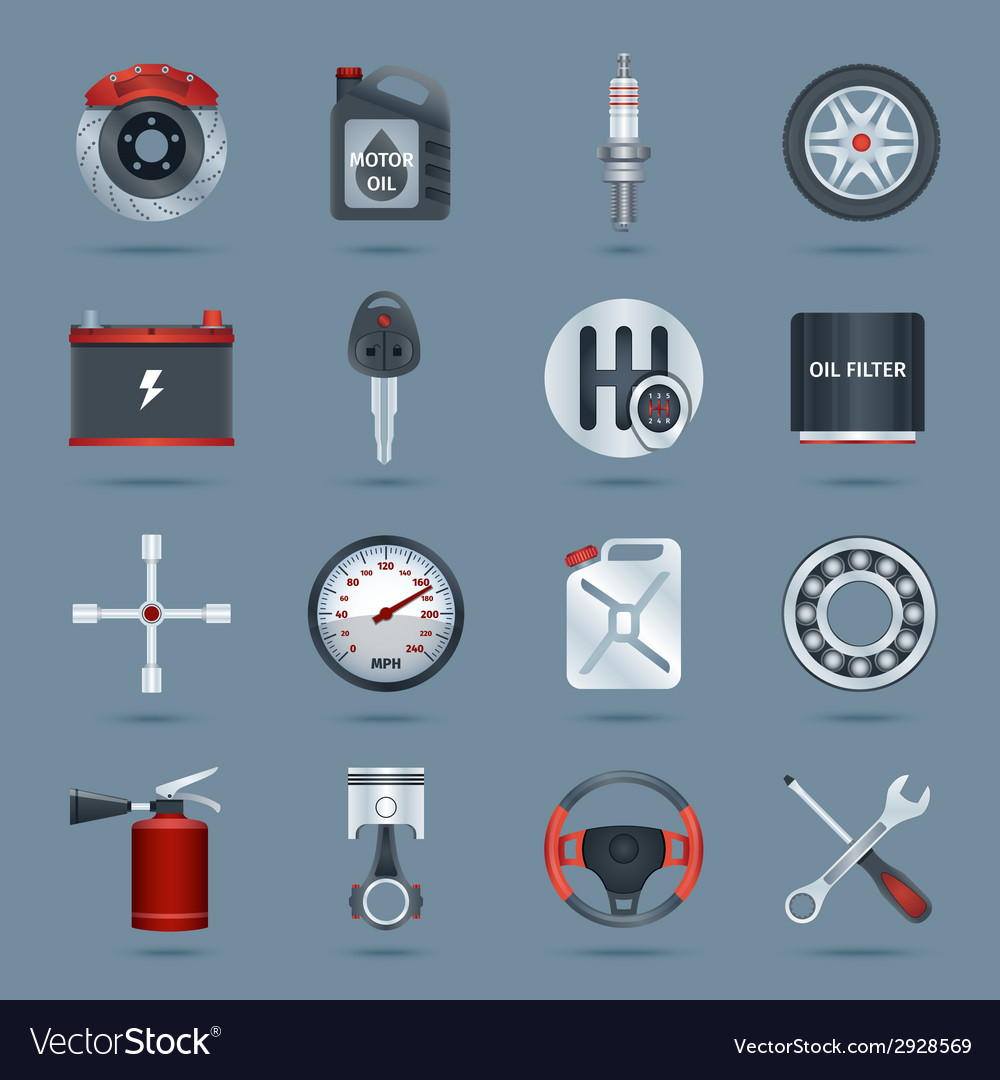 Car parts icons vector | Price: 1 Credit (USD $1)