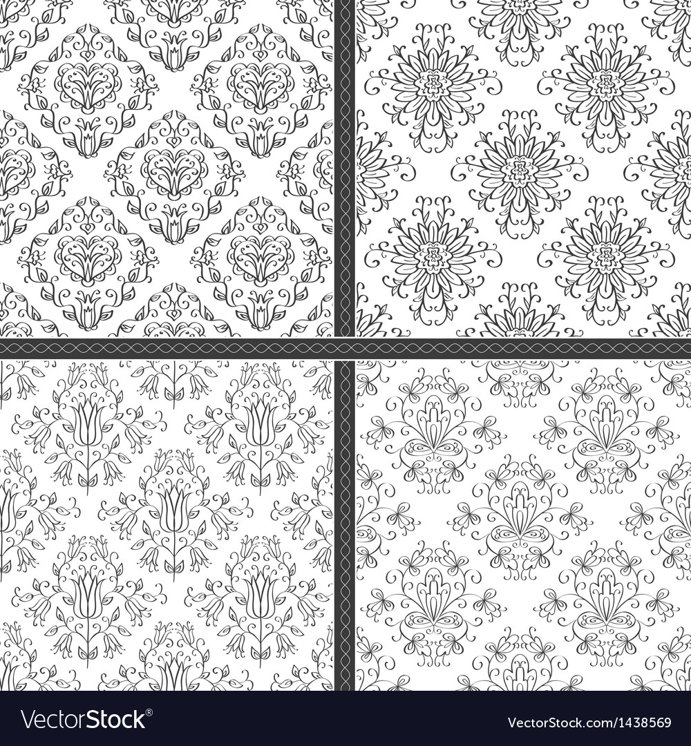 Damask white and black seamless pattern vector | Price: 1 Credit (USD $1)