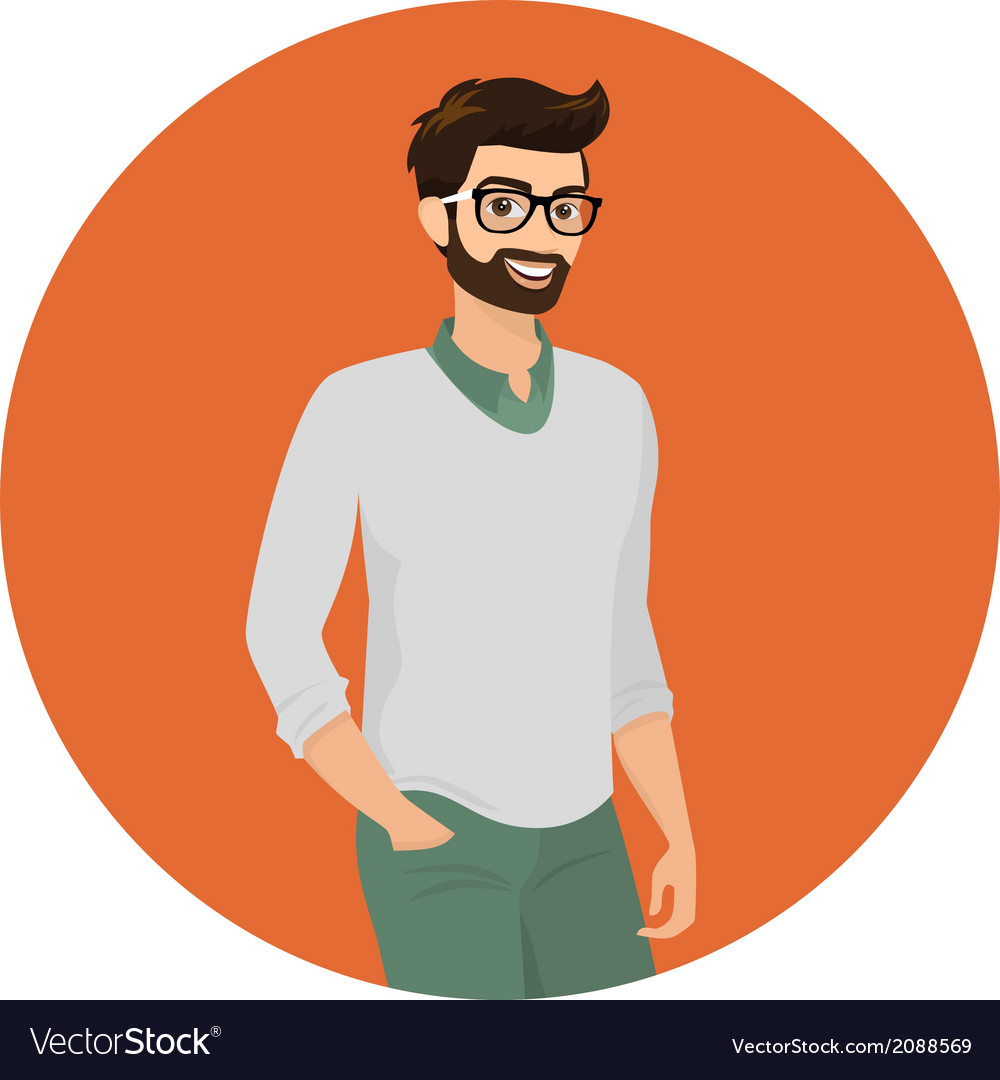 Hipster guy close-up vector | Price: 1 Credit (USD $1)