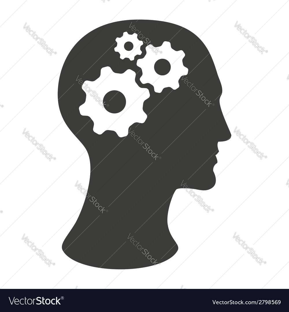 Human head silhouette with gears vector | Price: 1 Credit (USD $1)