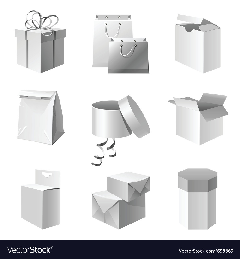 Paper package icons set vector | Price: 3 Credit (USD $3)