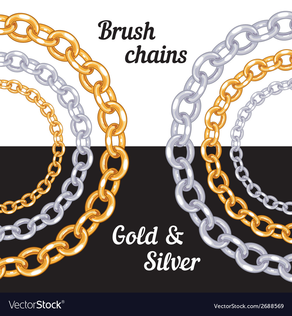 Set of chains metal brushes - gold and silver vector | Price: 1 Credit (USD $1)