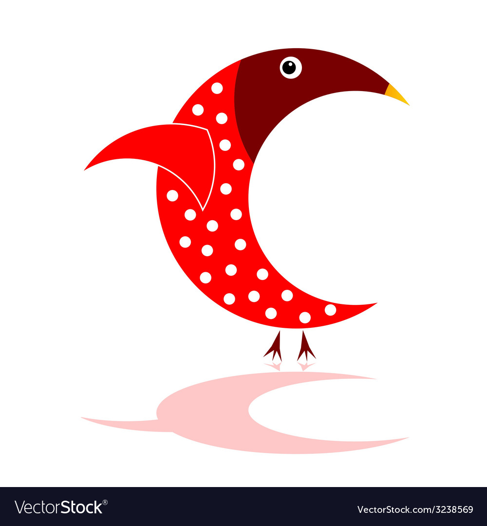 Sparrow in red color vector | Price: 1 Credit (USD $1)